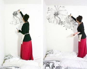 como pintar una pared con diseño en blanco y negro