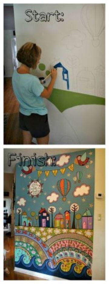 como pintar una pared con diseño infantil