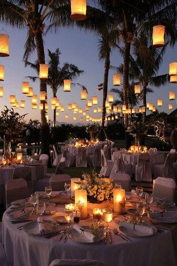 decoracion de local para matrimonio de noche aire libre