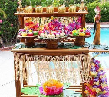 decoracion tropical para fiestas de cumpleaños