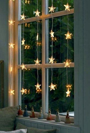 decoraciones con luces de navidad ventana