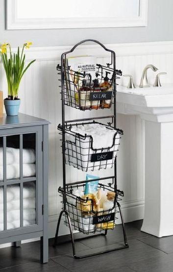 estanterias de pie para baño con cestas