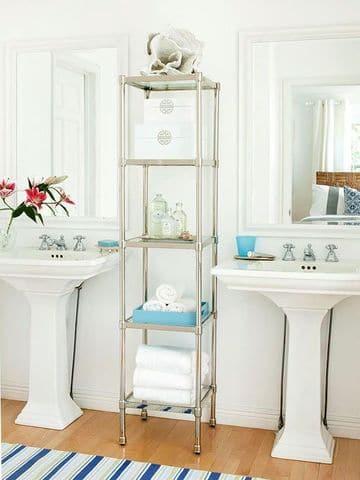 estanterias de pie para baño de vidrio y metal