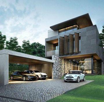 exteriores de casas modernas con entrada de piedra
