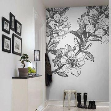 paredes decoradas con flores blanco y negro