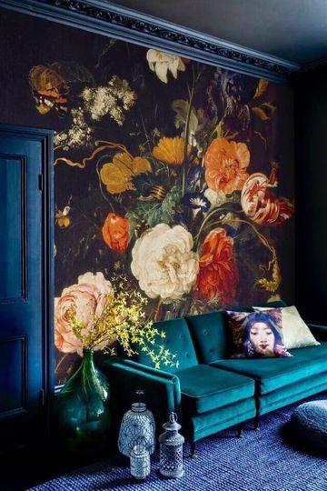 paredes decoradas con flores pintadas