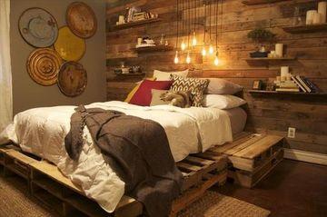 camas de palets reciclados y espaldar