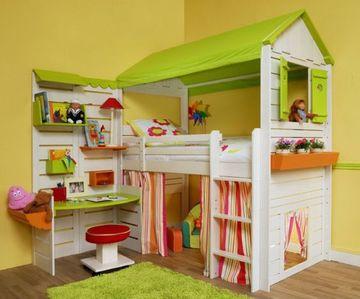 camas para niñas con escritorio estilo casita