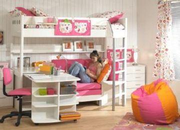 camas para niñas con escritorio modernas