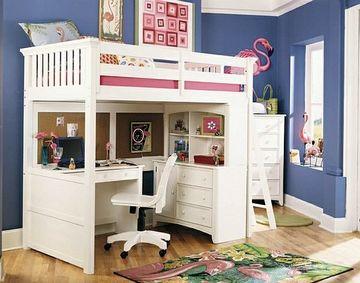 camas para niñas con escritorio y organizadores
