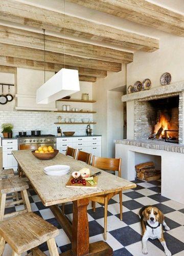 cocinas rusticas con chimenea grande