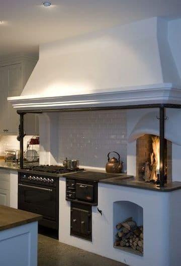 cocinas rusticas con chimenea pequeña