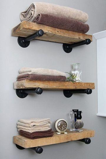 como hacer repisas para baños rusticas