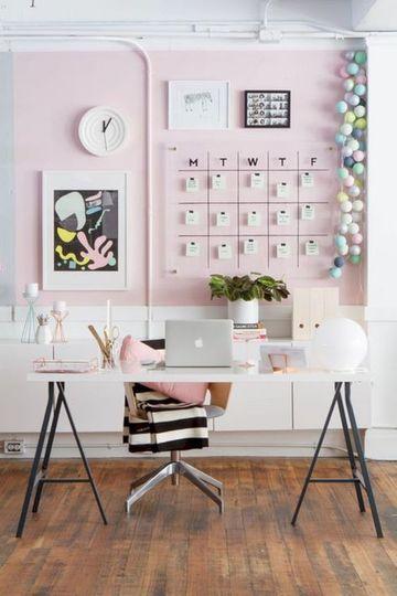 decoracion de escritorios de oficina de mujeres