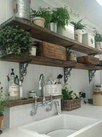 estantes de madera para pared de cocina