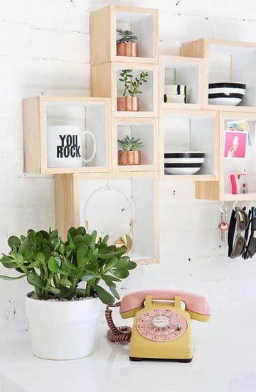 estantes de madera para pared de cubos