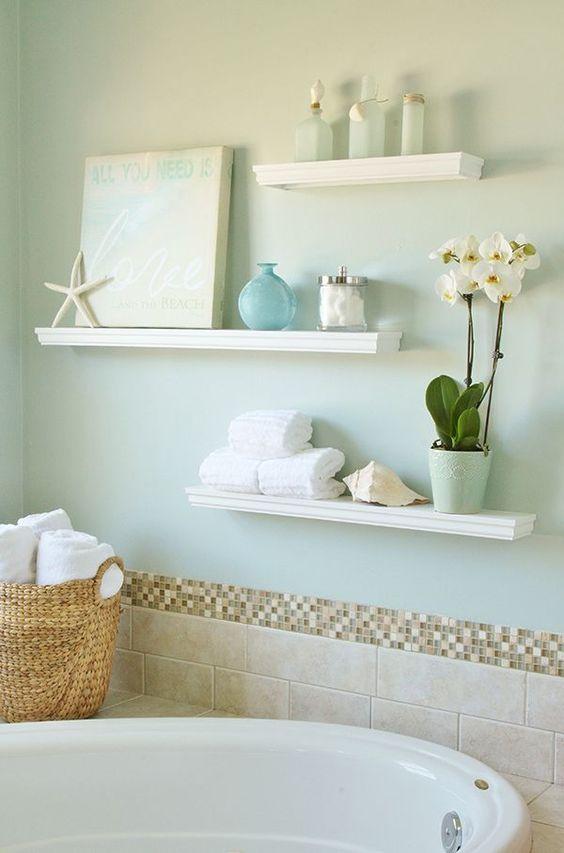 repisas flotantes para baño blancas
