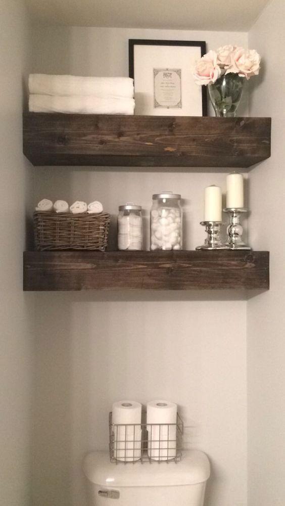 repisas flotantes para baño de madera