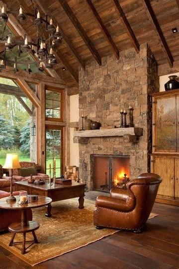 salones rusticos con chimenea amplios