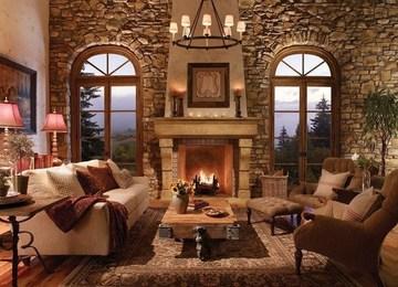 salones rusticos con chimenea elegantes