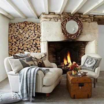 salones rusticos con chimenea sencillos