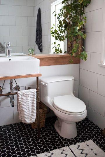 baños decorados con plantas naturales