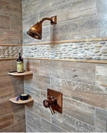 ceramicas rusticas para baños con piedras