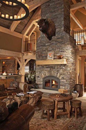 decoracion de salas rusticas en piedra y madera