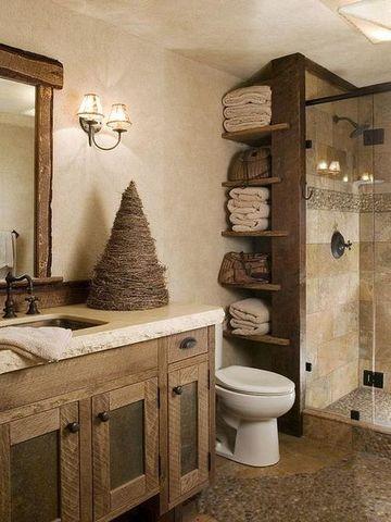 decoraciones rusticas para el hogar en area de los baños