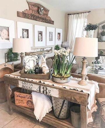 decoraciones rusticas para el hogar en el salon