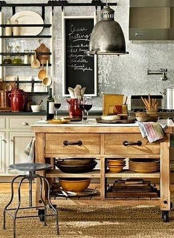 muebles rusticos para cocina pequeña