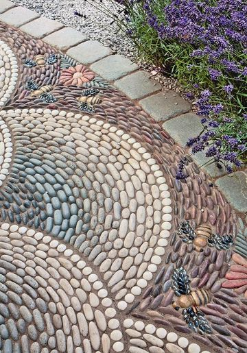 pisos para patios y jardines en mosaicos de piedras