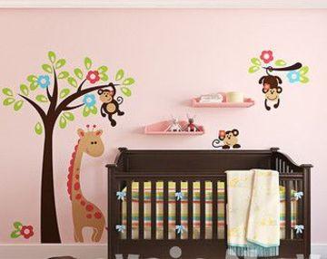 vinilos para habitaciones de niñas de jirafa y monito