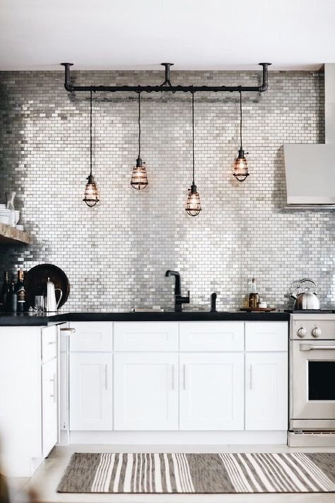 azulejos de cocina modernos metalizados