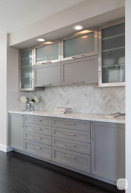 azulejos de cocina modernos plateados