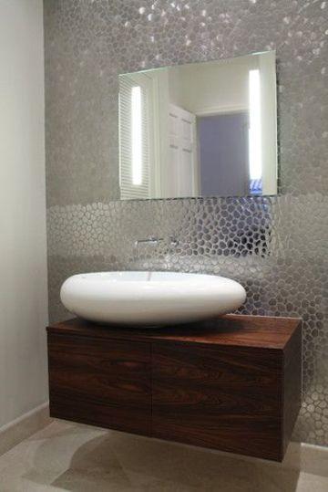 baldosas para baños modernos metalizadas
