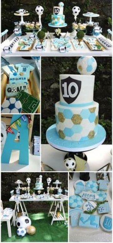 cumpleaños de futbol para niños modernos