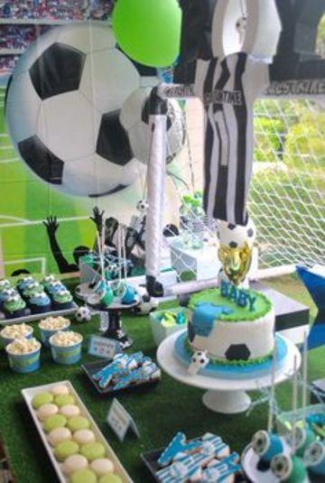 cumpleaños de futbol para niños y baby shower