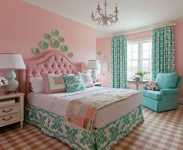 habitaciones turquesa y rosa grande