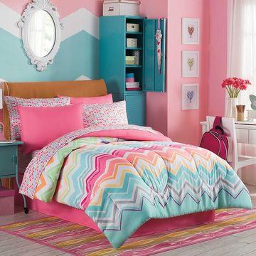 habitaciones turquesa y rosa para niñas
