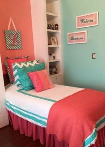 habitaciones turquesa y rosa pequeñas