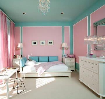 habitaciones turquesa y rosa sencilla