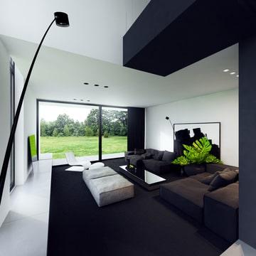 muebles minimalistas para sala en tonos oscuros