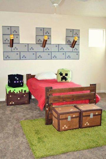 recamaras infantiles para niños de Minecraft