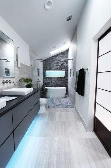 baños estrechos y largos modernos