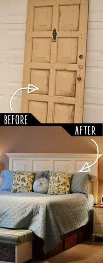 cabecera de cama reciclada con vieja puerta