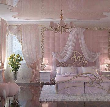 cortinas para habitacion rosa grande