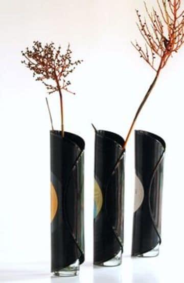 discos vinilos decorativos como florero