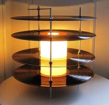 discos vinilos decorativos como lampara