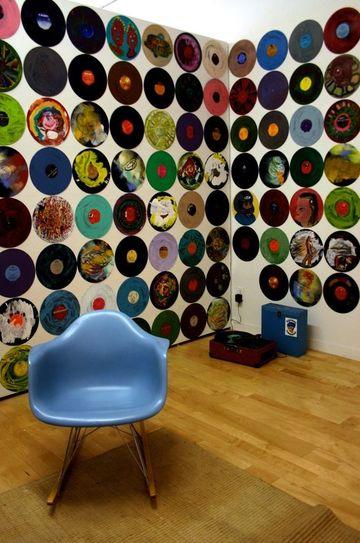discos vinilos decorativos para forrar paredes
